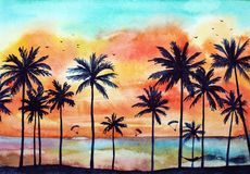 Paesaggio tropicale dell'acquerello immagini stock