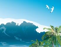 Paesaggio tropicale dell'isola Illustrazione Vettoriale