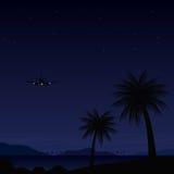 Paesaggio tropicale di scena di notte dell'isola Fotografia Stock Libera da Diritti