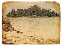 Paesaggio tropicale, Seychelles. Vecchia cartolina Immagine Stock