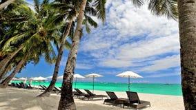Paesaggio tropicale stupefacente della spiaggia con le palme Isola di Boracay, Filippine stock footage