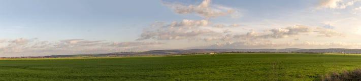 Paesaggio in Turingia con i generatori eolici e rurale panoramici Fotografia Stock Libera da Diritti