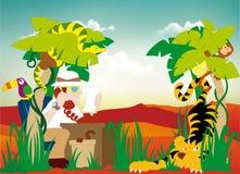 Paesaggio - un agente di viaggi con un telefono sotto una palma e bestie selvagge Immagini Stock