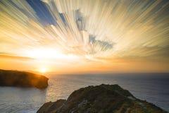 Paesaggio unico di alba della pila di lasso di tempo Fotografie Stock