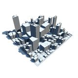 Paesaggio urbano 3D di modello - fumetto Syle Fotografia Stock Libera da Diritti