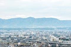 Paesaggio urbano aereo della città di Kyoto nel Giappone Fotografia Stock