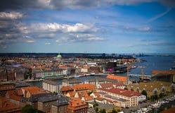 Paesaggio urbano aereo panoramico della città di Copenhaghen, Danimarca Fotografia Stock Libera da Diritti