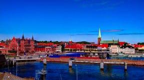 Paesaggio urbano aereo panoramico della città di Helsingor, Danimarca Fotografia Stock
