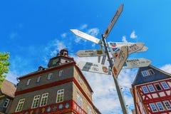 Paesaggio urbano al quadrato di città in Herborn, Germania Fotografia Stock