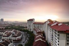 Paesaggio urbano al tramonto Fotografia Stock Libera da Diritti