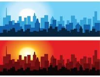 Paesaggio urbano all'alba ed al crepuscolo Fotografia Stock