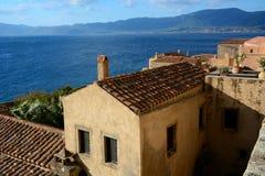 Paesaggio urbano alla città medievale di Monemvasia, il Peloponneso, Grecia Immagini Stock