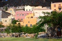 Paesaggio urbano alla città medievale di Monemvasia, il Peloponneso, Grecia Immagini Stock Libere da Diritti
