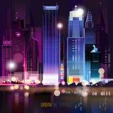 Paesaggio urbano astratto di notte Fotografie Stock Libere da Diritti