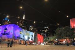 Paesaggio urbano Australia di notte di Melbourne Fotografie Stock Libere da Diritti