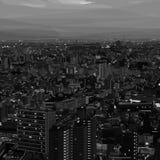 Paesaggio urbano in bianco e nero nella poli progettazione bassa fotografia stock libera da diritti