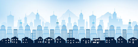 Paesaggio urbano blu Fotografie Stock Libere da Diritti