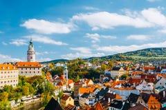 Paesaggio urbano Cesky Krumlov, repubblica Ceca Autunno Fotografia Stock
