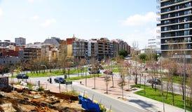 Paesaggio urbano con area del giardino in Collblanc Fotografia Stock