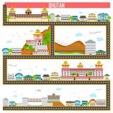 Paesaggio urbano con il monumento e la costruzione famosi del Bhutan Fotografia Stock Libera da Diritti
