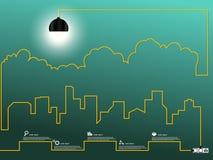 Paesaggio urbano con la lampadina del cavo creativo Immagine Stock