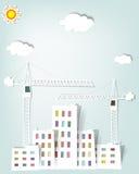Paesaggio urbano con le gru a torre Fotografie Stock Libere da Diritti