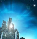 Paesaggio urbano corporativo blu Fotografia Stock Libera da Diritti