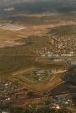 Paesaggio urbano dall'aeroplano Fotografia Stock