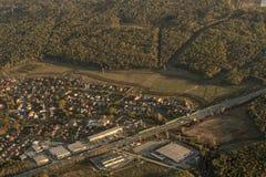 Paesaggio urbano dall'aeroplano Fotografie Stock