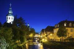 Paesaggio urbano dalle camice del fiume in Ettlingen Fotografia Stock