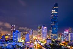 Paesaggio urbano del centro di affari della città dentro di Bangkok durante il tempo di ora di punta Fotografie Stock Libere da Diritti