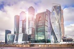 Paesaggio urbano del centro di affari della città di Mosca Grattacieli a Mosca Paesaggio delle costruzioni di Mosca Fotografie Stock Libere da Diritti