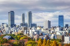 Paesaggio urbano del centro di Nagoya, Giappone Fotografia Stock Libera da Diritti