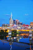 Paesaggio urbano del centro di Nashville nella sera Fotografia Stock Libera da Diritti