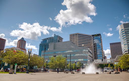 Paesaggio urbano del centro di Portland un giorno nuvoloso Fotografia Stock