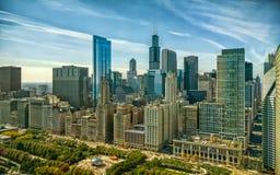 Paesaggio urbano del ciclo di Chicago al viale ed a Randolph Street del Michigan Paesaggio aereo urbano Illinois, U fotografia stock