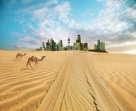 Paesaggio urbano del Kuwait nell'ora legale fotografia stock