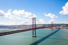 Paesaggio urbano del ponte di Lisbona Fotografie Stock Libere da Diritti