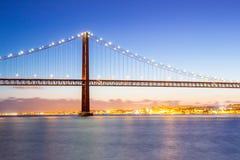 Paesaggio urbano del ponte di Lisbona Immagini Stock Libere da Diritti