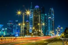 Paesaggio urbano del porticciolo del Dubai, UAE Fotografia Stock