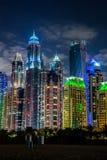 Paesaggio urbano del porticciolo del Dubai, UAE Immagini Stock