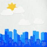 Paesaggio urbano del taglio del documento di riso Immagini Stock