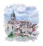 Paesaggio urbano dell'acquerello con la torre di Galata, Costantinopoli, Turchia illustrazione di stock
