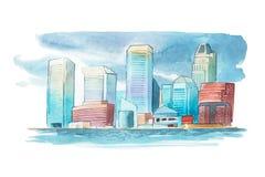 Paesaggio urbano dell'acquerello con le case e l'illustrazione dell'acquerello delle costruzioni Fotografia Stock Libera da Diritti