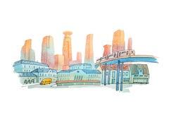 Paesaggio urbano dell'acquerello con le case e l'illustrazione dell'acquerello delle costruzioni Immagini Stock Libere da Diritti