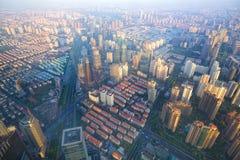 Paesaggio urbano dell'antenna di Shanghai Immagine Stock Libera da Diritti