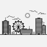 Paesaggio urbano dell'orizzonte che sviluppa linea in bianco e nero Immagini Stock