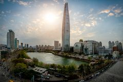 Paesaggio urbano dell'orizzonte del centro della città di Seoul con il fiore di ciliegia fotografie stock