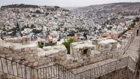 Paesaggio urbano dell'orizzonte di Gerusalemme Immagini Stock Libere da Diritti