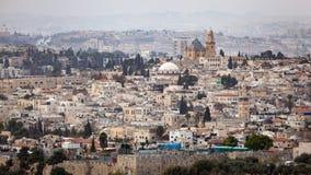 Paesaggio urbano dell'orizzonte di Gerusalemme Immagini Stock